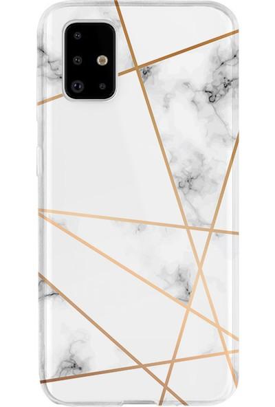 Kılıfland Samsung Galaxy A71 Kılıf A715F Silikon Resimli Kapak White Marble Mermers With Triangle -Stok 1195