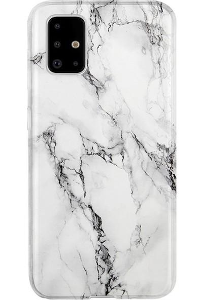 Kılıfland Samsung Galaxy A51 Kılıf A515F Silikon Resimli Kapak Fragile White Marble Mermer -Stok 1103