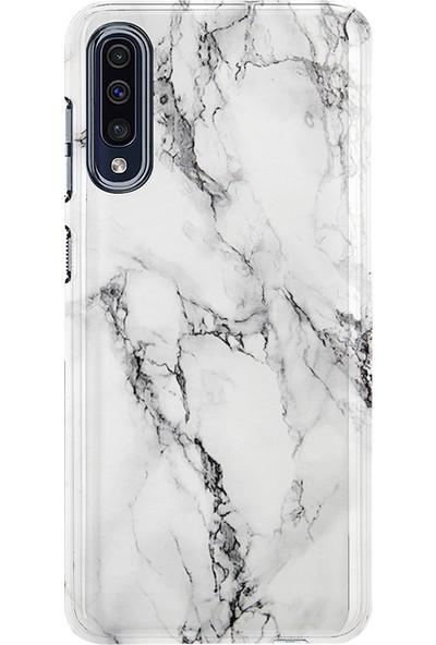 Kılıfland Samsung Galaxy A70 Kılıf A705F Silikon Resimli Kapak Fragile White Marble Mermer -Stok 1103