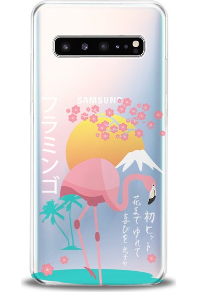 Kılıfland Samsung Galaxy S10 Kılıf G973F Silikon Resimli Kapak Flamingo of the Sun -Stok 591