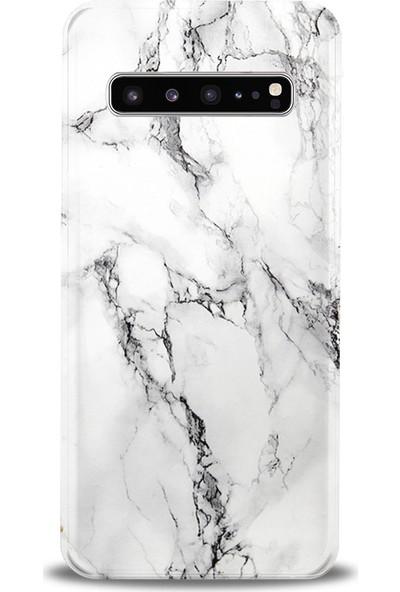 Kılıfland Samsung Galaxy S10 Plus Kılıf G975F Silikon Resimli Kapak Fragile White Marble Mermer -Stok 1103