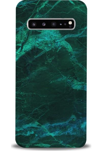 Kılıfland Samsung Galaxy S10 Plus Kılıf G975F Silikon Resimli Kapak Koyu Yeşil Mermer -Stok 1295