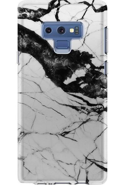 Kılıfland Samsung Galaxy Note 9 Kılıf N960F Silikon Resimli Kapak Beyaz Taşlı Mermer -Stok 1300