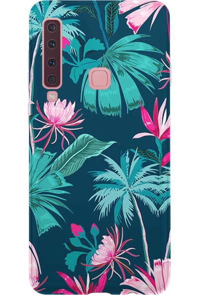 Kılıfland Samsung Galaxy A9 2018 Kılıf A920F Silikon Resimli Kapak Forest Pink and Green Flowers -Stok 1013