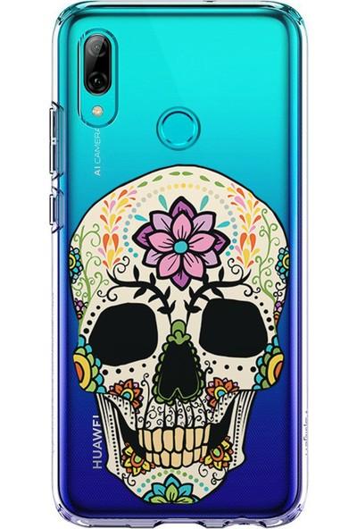 Kılıfland Huawei P Smart 2019 Kılıf Silikon Desenli Resimli Lüx Kapak Skull With Flowers -Stok 670
