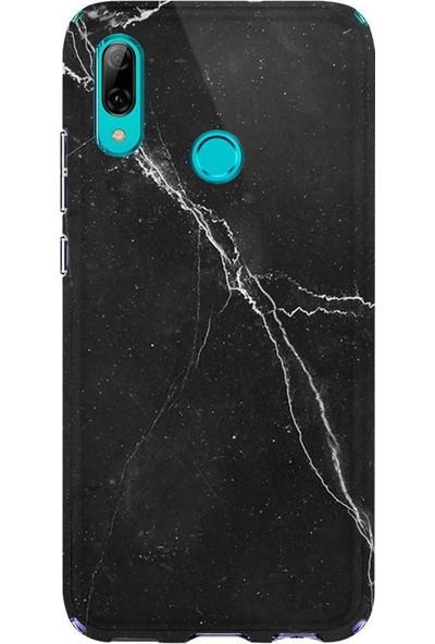 Kılıfland Huawei P Smart 2019 Kılıf Silikon Desenli Resimli Lüx Kapak Siyah Şerit Mermer -Stok 1298