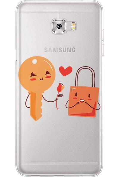 Kılıfland Samsung Galaxy C5 Pro Kılıf Silikon Desenli Resimli Lüx Kapak Love Key -Stok 1017