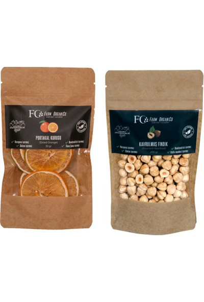 Farm Organico Kurutulmuş Portakal 30 gr - Kavrulmuş Fındık 200 gr