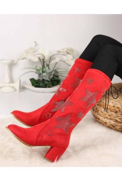 Mosimoso Livia Kırmızı Süet Yıldız Figürlü Streç Kadın Çizme