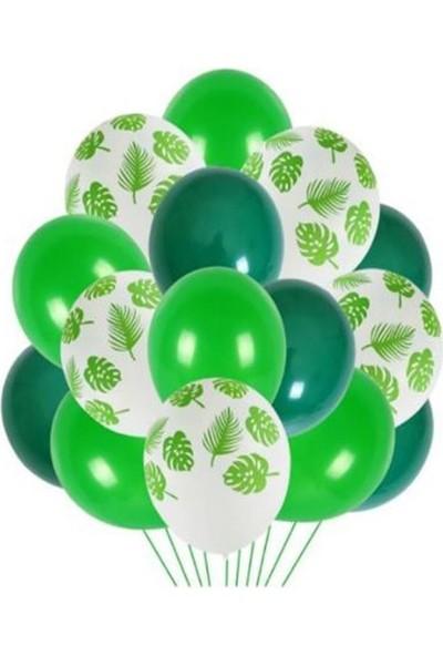Beysüs Yaprak Baskılı Yeşil Balon Demeti 25 Li