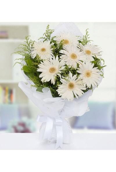 Lezzetliçiçek Beyaz Gerbera Buketi