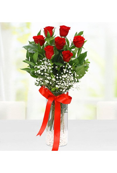 Lezzetliçiçek Kırmızı 7 Gül Vazoda