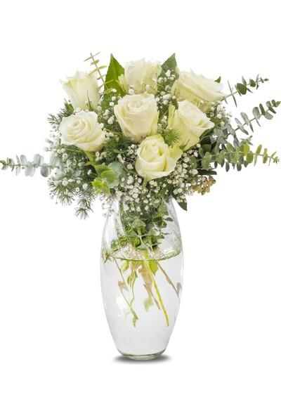 Lezzetliçiçek Beyaz 7 Gül Vazoda