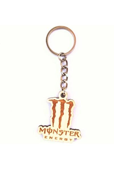 ASR Monster Energy 2'li Lüks Araç Boyun Yastığı Siyah ve Ahşap Logo Anahtarlık