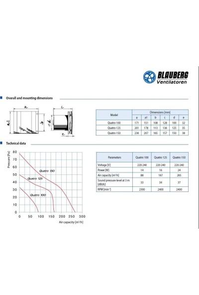 Blauberg Quatro Hi-Tech Chrome 125 Plastik Banyo Fanı 167 M3H