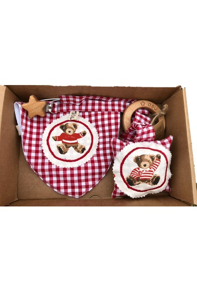 Asu Baby&Kids Vintage Ayı Kırmızı 3'lü Bebek Kiti