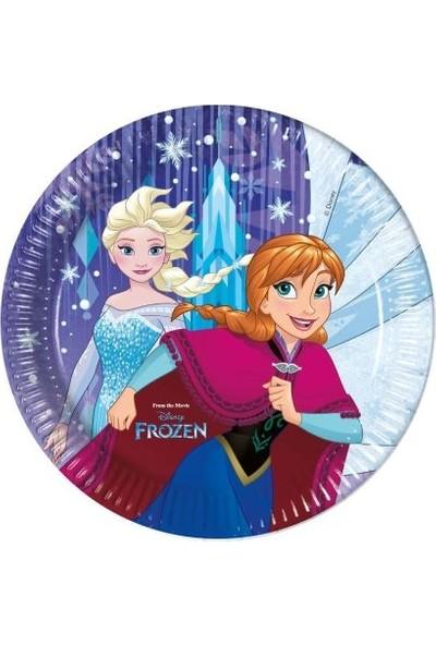 Acar Süs Frozen Snowflakes Baskılı Karton Tabak 8 Adet 23 cm