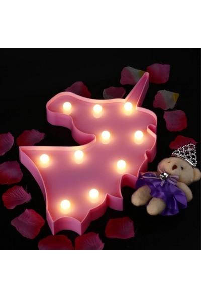 Wepools Pembe Unicorn Kafa LED Işıklı Masa Duvar Gece Lambası