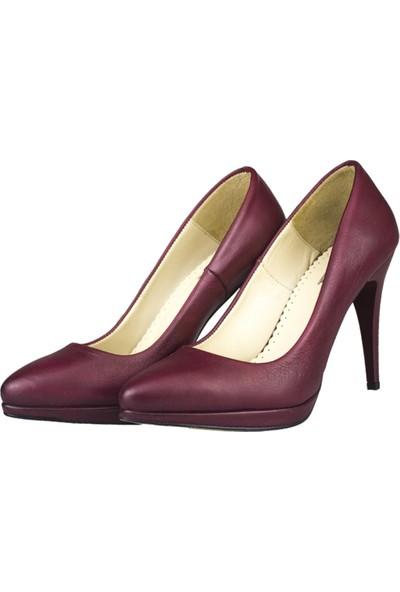 Gön Topuklu Ayakkabı Deri Kadın Bordo 40