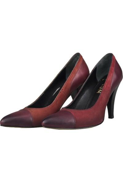 Gön Topuklu Ayakkabı Deri Kadın Bordo - Kırmızı 36