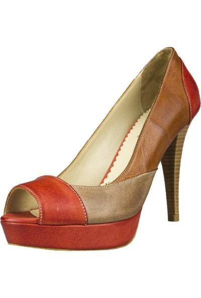 Gön Topuklu Ayakkabı Deri Kadın Krem - Kırmızı 40