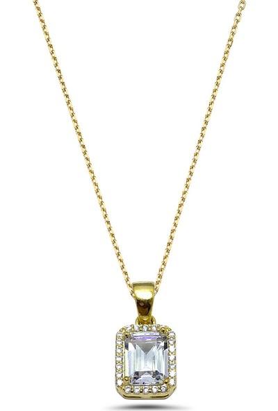 Midyat Nurtaş Gümüş Zirkon Baget Taşlı Altın Kaplama Bayan Gümüş Kolye