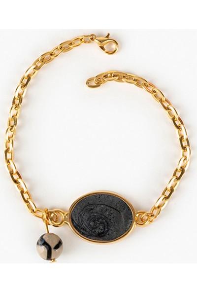 Beyza Teymur Gold Bijuteri Siyah Sedef ve Tibet Taşlı 19 cm