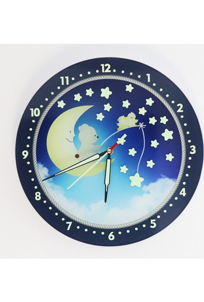 Dekor Loft Güvenli Cam Gece Parlayan Çocuk Odası Duvar Saati FS-1651