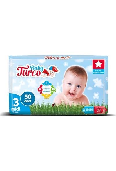 Baby Turco Bebek Bezi 3 Beden Midi 50' Li 5 -9 kg