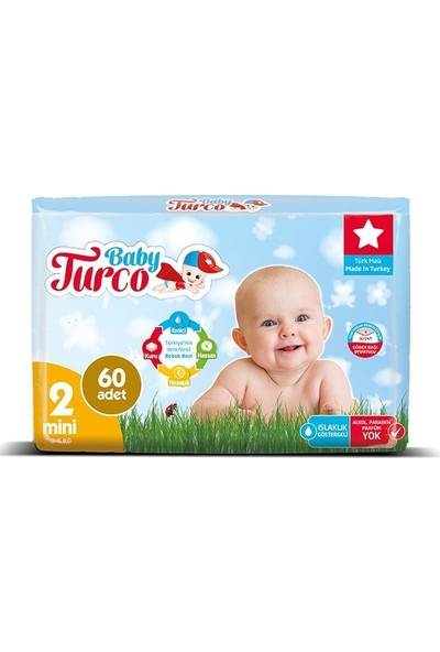 Baby Turco Bebek Bezi 2 Beden Mini 60' Lı 3 - 6 kg