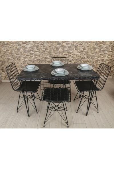 Akın Lux Siyah Mutfak Masa Sandalye Takımı