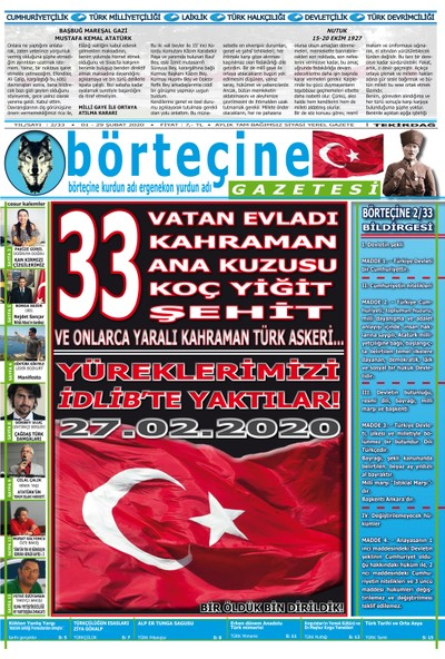 Börteçine Gazetesi 2/33 Şubat 2020