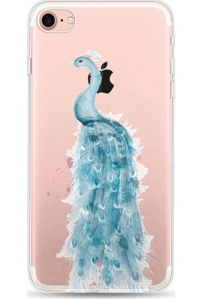 Kılıfland Apple iPhone 8 Kılıf Silikon Resimli Kapak Peacock - 641