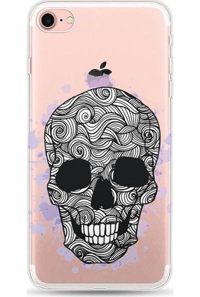 Kılıfland Apple iPhone 8 Kılıf Silikon Resimli Kapak Purple Skul - 658