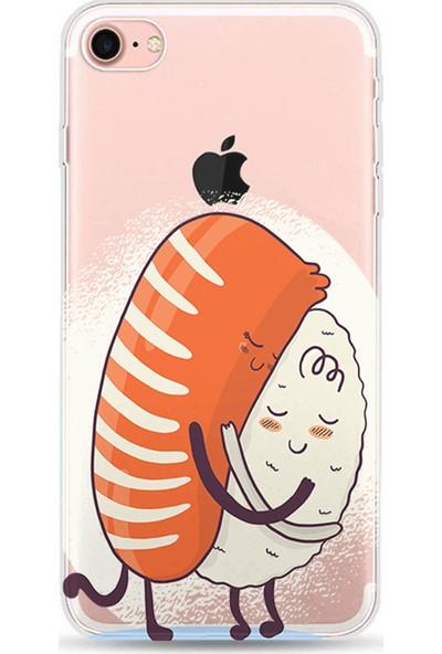 Kılıfland Apple iPhone 8 Kılıf Silikon Resimli Kapak Sushi Hug - 732