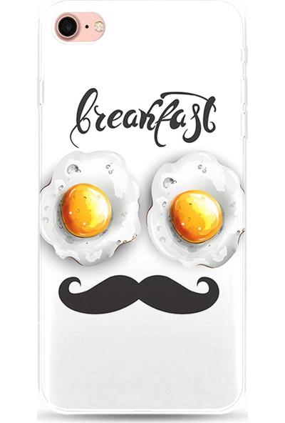 Kılıfland Apple iPhone 8 Kılıf Silikon Resimli Kapak Breakfast - 1053
