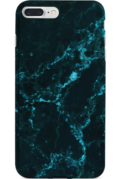 Kılıfland Apple iPhone 7 Plus Kılıf Silikon Resimli Kapak Koyu Mavi Mermer - 1297