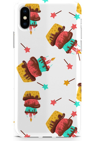 Kılıfland Apple iPhone XS Max Kılıf Silikon Resimli Kapak Cake And Star - 324