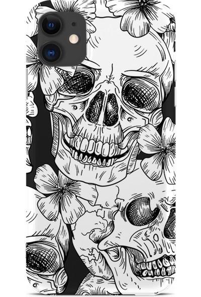 Kılıfland Apple iPhone 11 Kılıf Silikon Resimli Kapak White Flowers Skull - 662