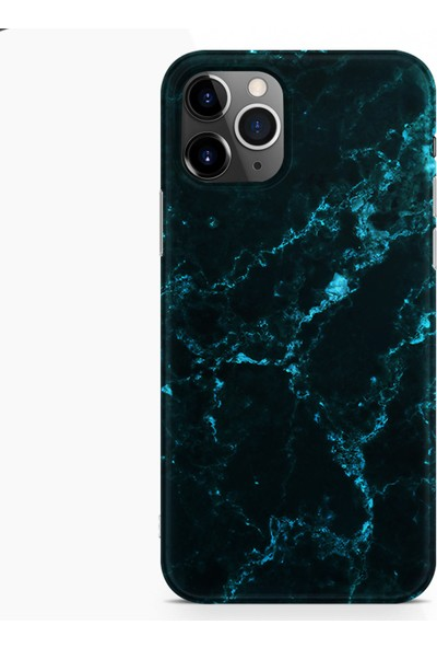 Kılıfland Apple iPhone 11 Pro Max Kılıf Silikon Resimli Kapak Koyu Mavi Mermer - 1297