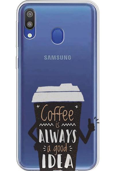 Kılıfland Samsung Galaxy A20 Kılıf A205F Silikon Resimli Kapak Coffee a Good İdea - 1066