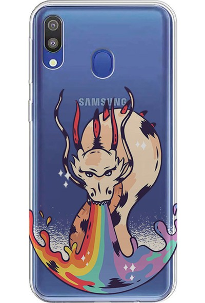 Kılıfland Samsung Galaxy A30 Kılıf A305F Silikon Resimli Kapak Dragon Rainbow - 403