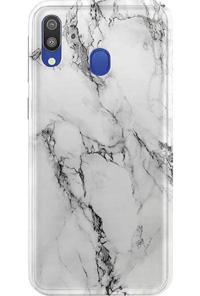 Kılıfland Samsung Galaxy A10S Kılıf A107F Silikon Resimli Kapak Fragile White Marble Mermer - 1103