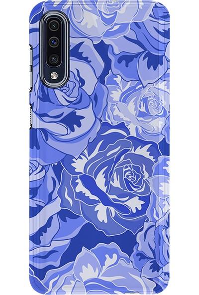 Kılıfland Samsung Galaxy A50 Kılıf A505F Silikon Resimli Kapak Blue Rose - 427