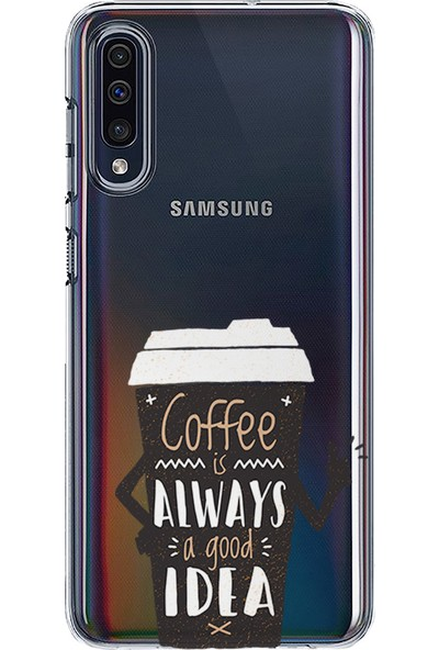 Kılıfland Samsung Galaxy A50 Kılıf A505F Silikon Resimli Kapak Coffee a Good İdea - 1066