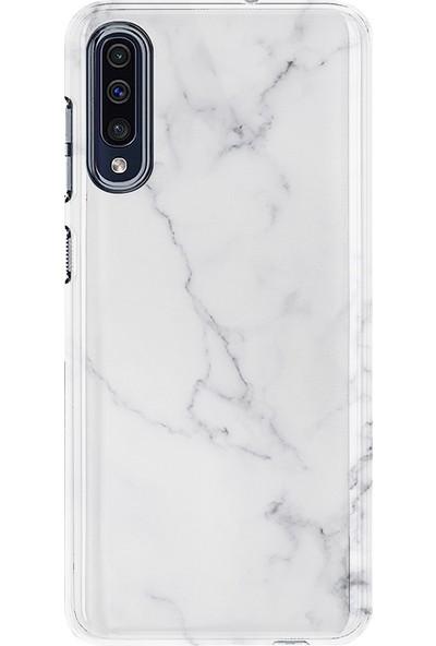 Kılıfland Samsung Galaxy A50 Kılıf A505F Silikon Resimli Kapak Beyaz Açık Mermem - 1293