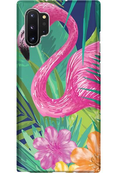 Kılıfland Samsung Galaxy Note 10 Plus Kılıf N975F Silikon Resimli Kapak Flowers With Flamingo - 814