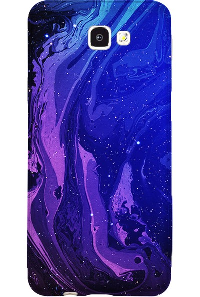 Kılıfland Samsung Galaxy J7 Prime-J7 Prime 2 Kılıf Silikon Resimli Kapak Abstract Night Blue - 1149