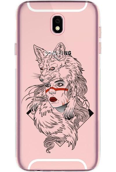 Kılıfland Samsung Galaxy J7 Pro Kılıf J730F Silikon Resimli Kapak Wolf Girl - 853