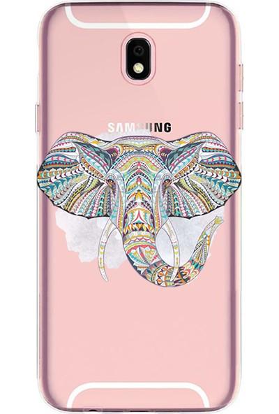 Kılıfland Samsung Galaxy J7 Pro Kılıf J730F Silikon Resimli Kapak Mandala Color Elephant - 1148
